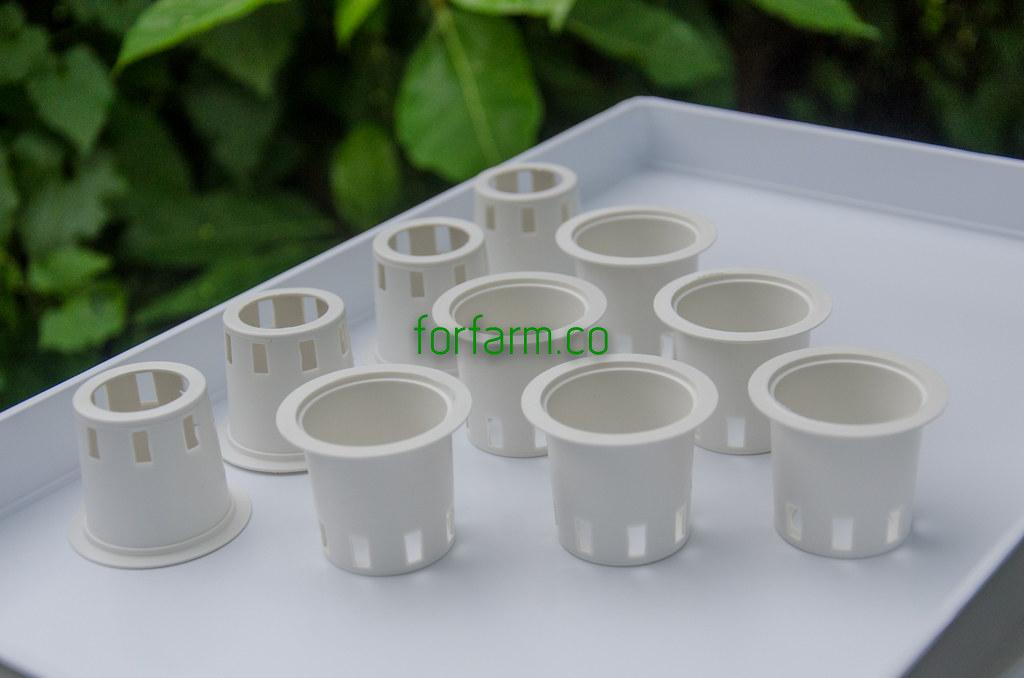 ถ้วยปลูกสีขาว สำหรับปลูกผักไฮโดรโปนิกส์