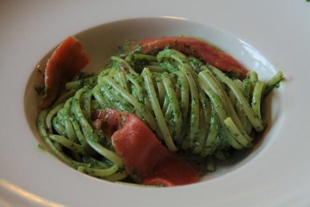 linquine met spinazie, room en zalm