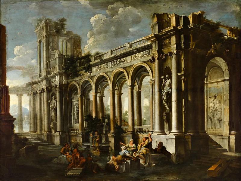 Pietro Cappelli - Capriccio with figures before a ruined arcade