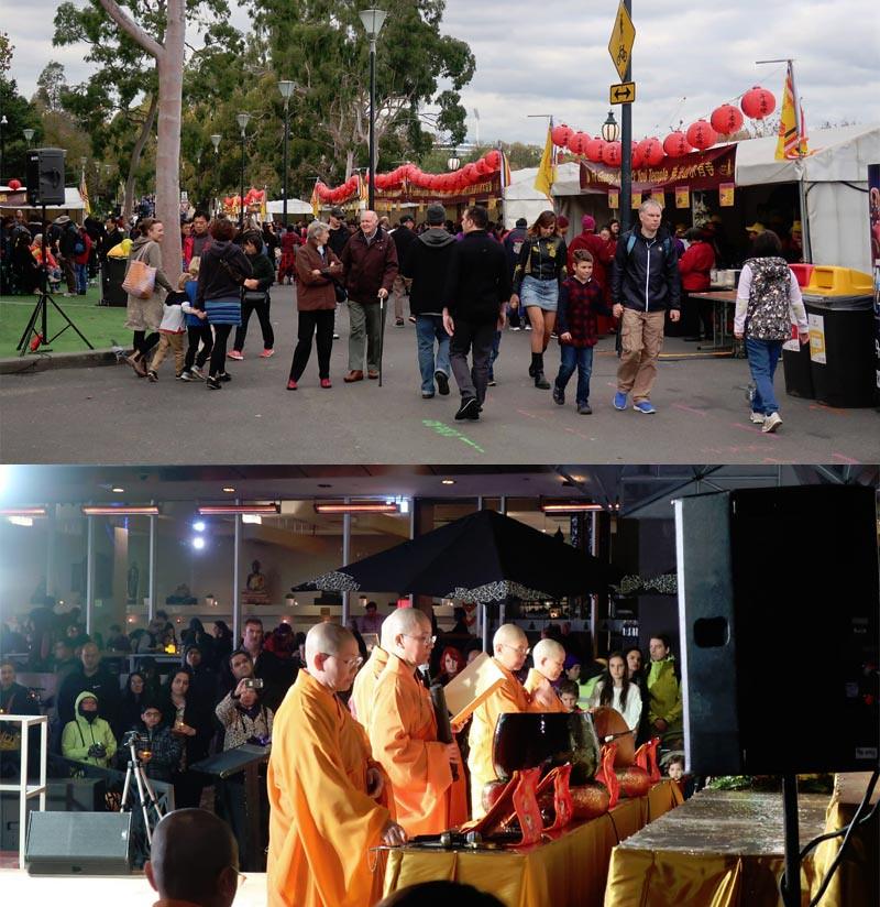 Festival makanan vegetarian (atas) dan puja bakti di Festival hari Buddha dan Multikultural di Federation Square, Melbourne, Australia, 19-20 Mei 2018.