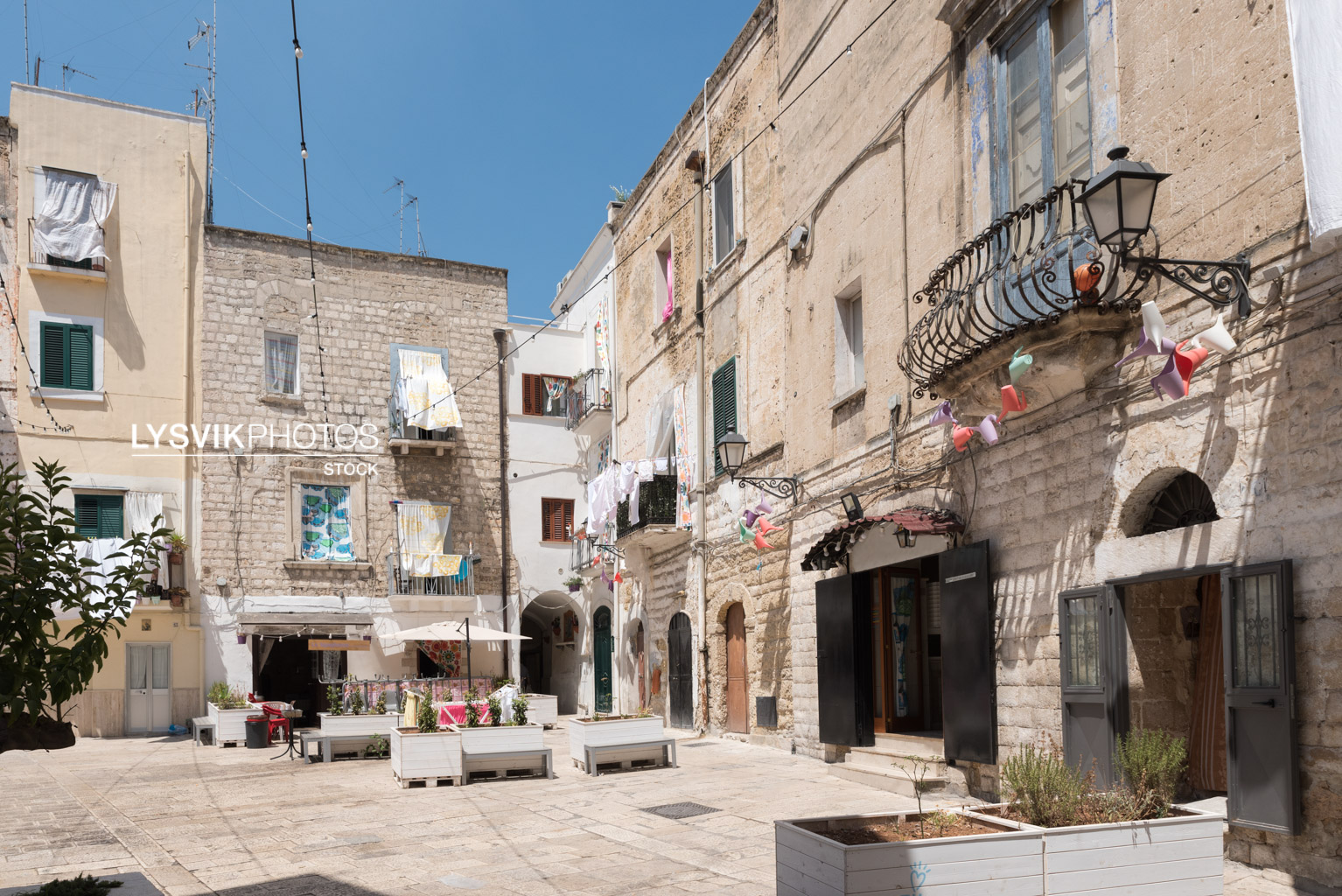 Picturesque square in the old town of Bari, Puglia