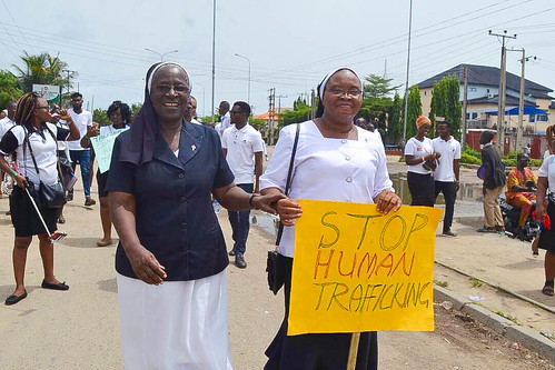 Patricia Ebegbulem SSL (left) and Angela Onyema SSL (right) at the Human Trafficking Youth rally