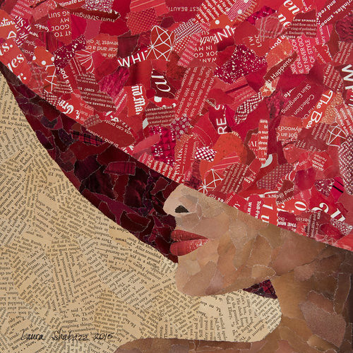 torn paper collage - Tropical Woman by Laura Shabazz