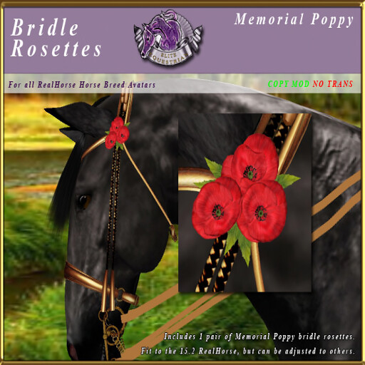 Free Memorial Day Poppy Bridle Rosettes