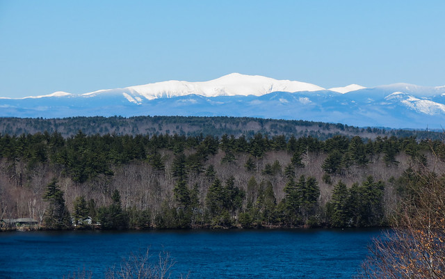 Snow-covered Mt Washington, EarthDay2018, as seen from Mayberry Hill, Casco