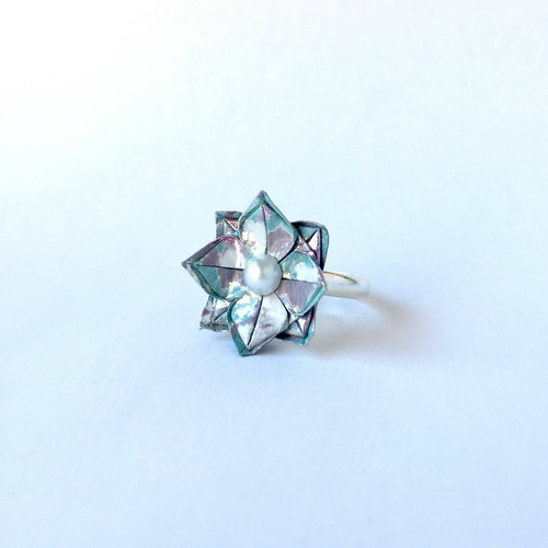 Origami Silver Lotus Ring by Blue Bassoon