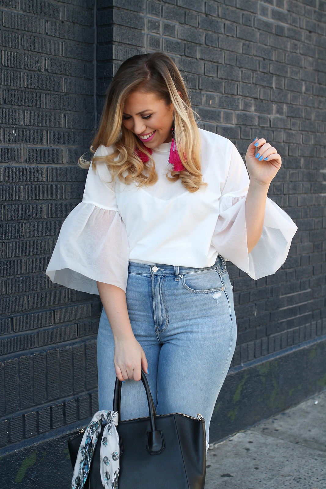 Trendy Spring Outfit Hot Pink Statement Earrings A New Day Organza Sleeve Blouse American Eagle Mom Jeans Living After Midnite Fashion Style Blogger Jackie Giardina