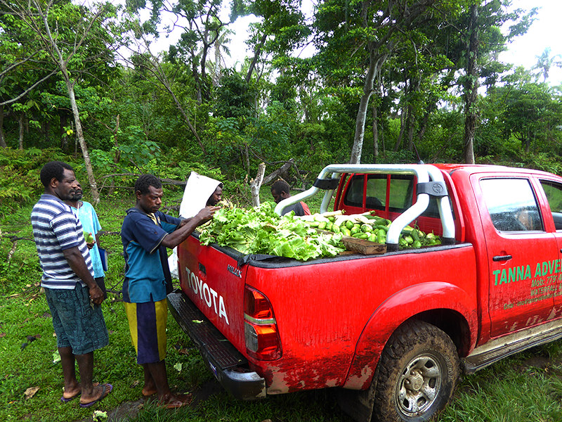 Esso instigated the development of a quick growing vegetable plantation on their tribal land to help provide the hardest affected areas of Tanna Island with their food supplies and to help provide food resilence on the island.