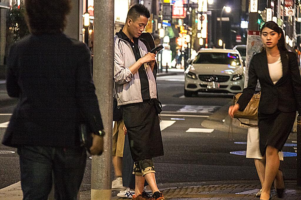 People on Yaesu sidewalk--Tokyo