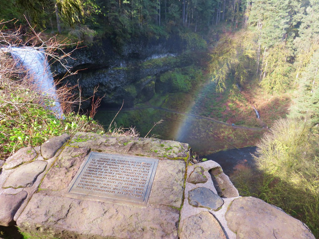 Plaque above South Falls