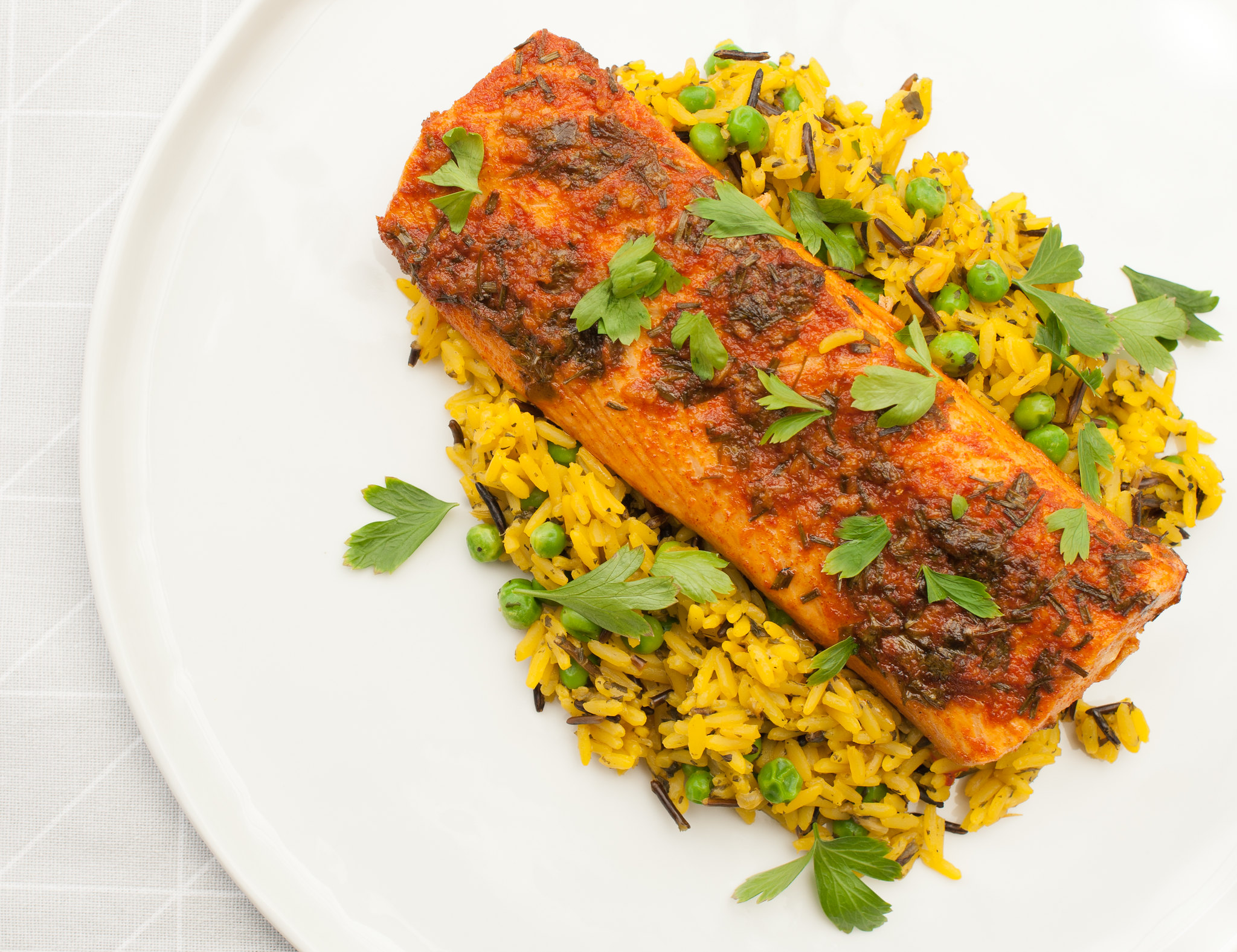 Paprika and Lemon Salmon with Saffron Wild Rice