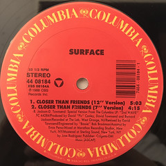 SURFACE:CLOSER THAN FRIENDS(LABEL SIDE-A)