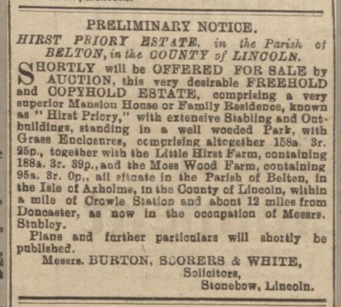 Hirst Priory Auction Preliminary Notice