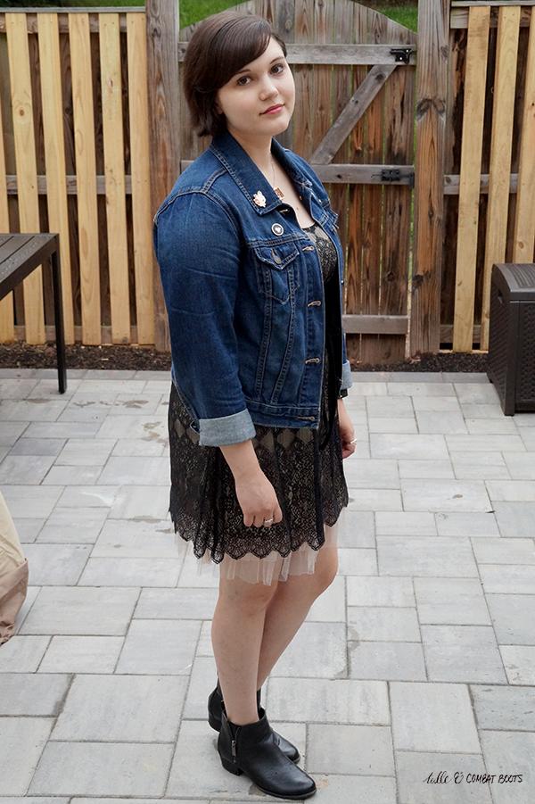 lace dress jean jacket