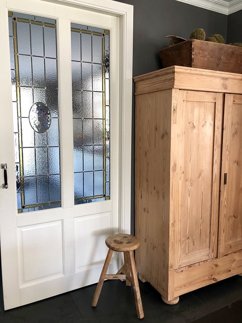 Glas in lood deuren kast krukje