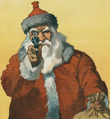 """Hands up!"" photomechanical print showing a santa claus pointing a handgun at the viewer (1912) by Will Crawford (1869-1944)."