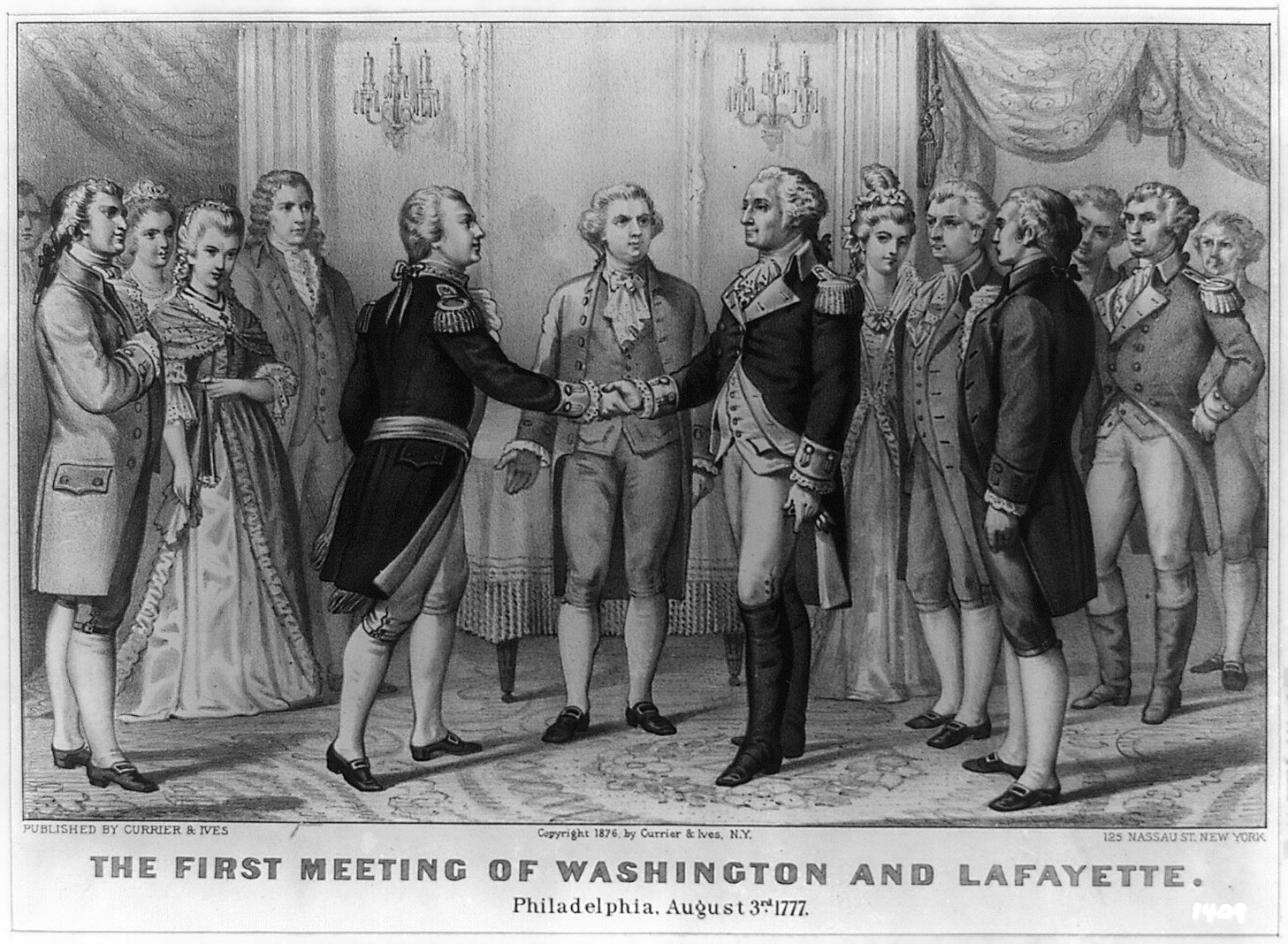 The Marquis de Lafayette first meets George Washington on August 5, 1777. By Currier and Ives.