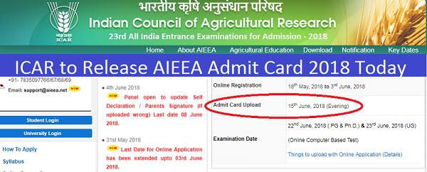 icar to release aieea admit card 2018 today