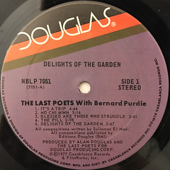 THE LAST POETS WIT BERNARD PURDIE:DELIGHTS OF THE GARDEN(LABEL SIDE-A)