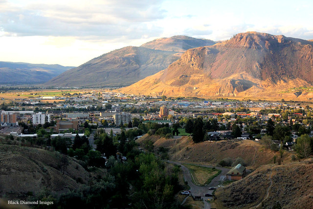 View over Kamloops to Mount Paul from the Rocky Mountaineer,  British Columbia, Canada