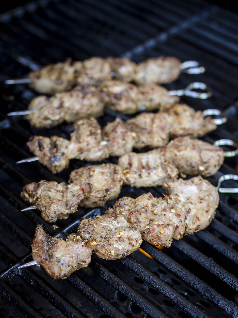 Spiced Pork Skewers with duBreton