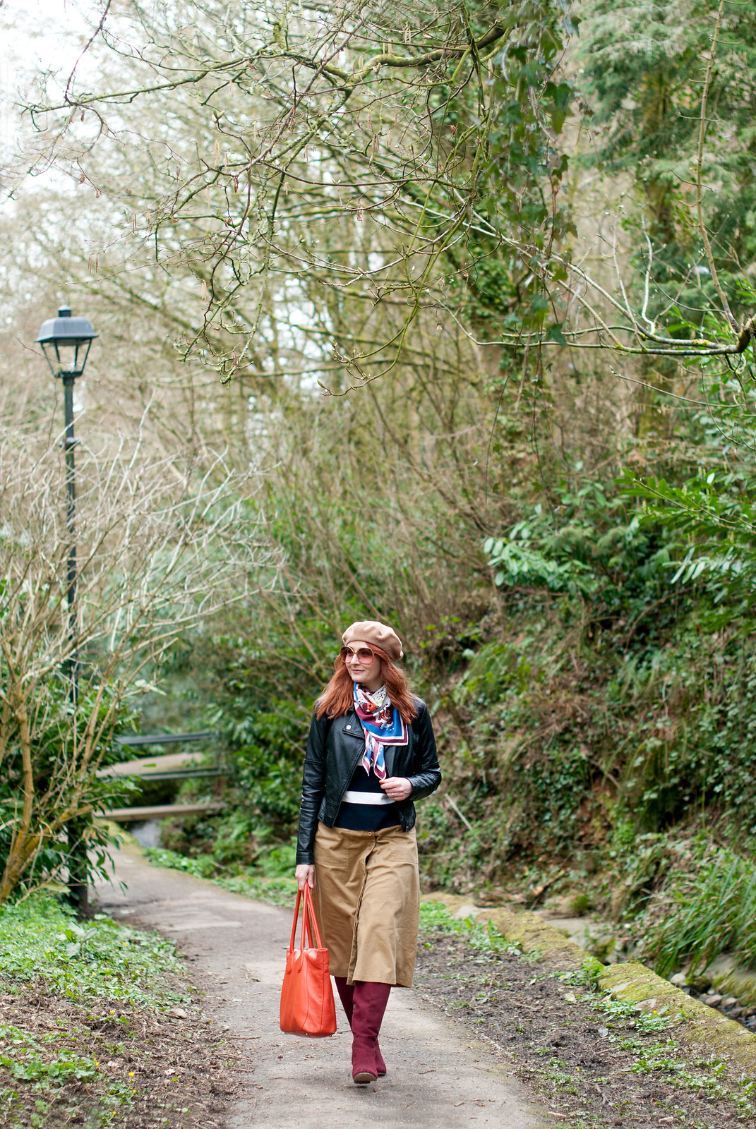 The Power of Accessories: Adding Finishing Touches to an Outfit of Black Leather Biker Jacket, Camel Midi Skirt, Stripe Sweater and Slouchy Knee High Burgundy Boots | Not Dressed As Lamb, over 40 style blog