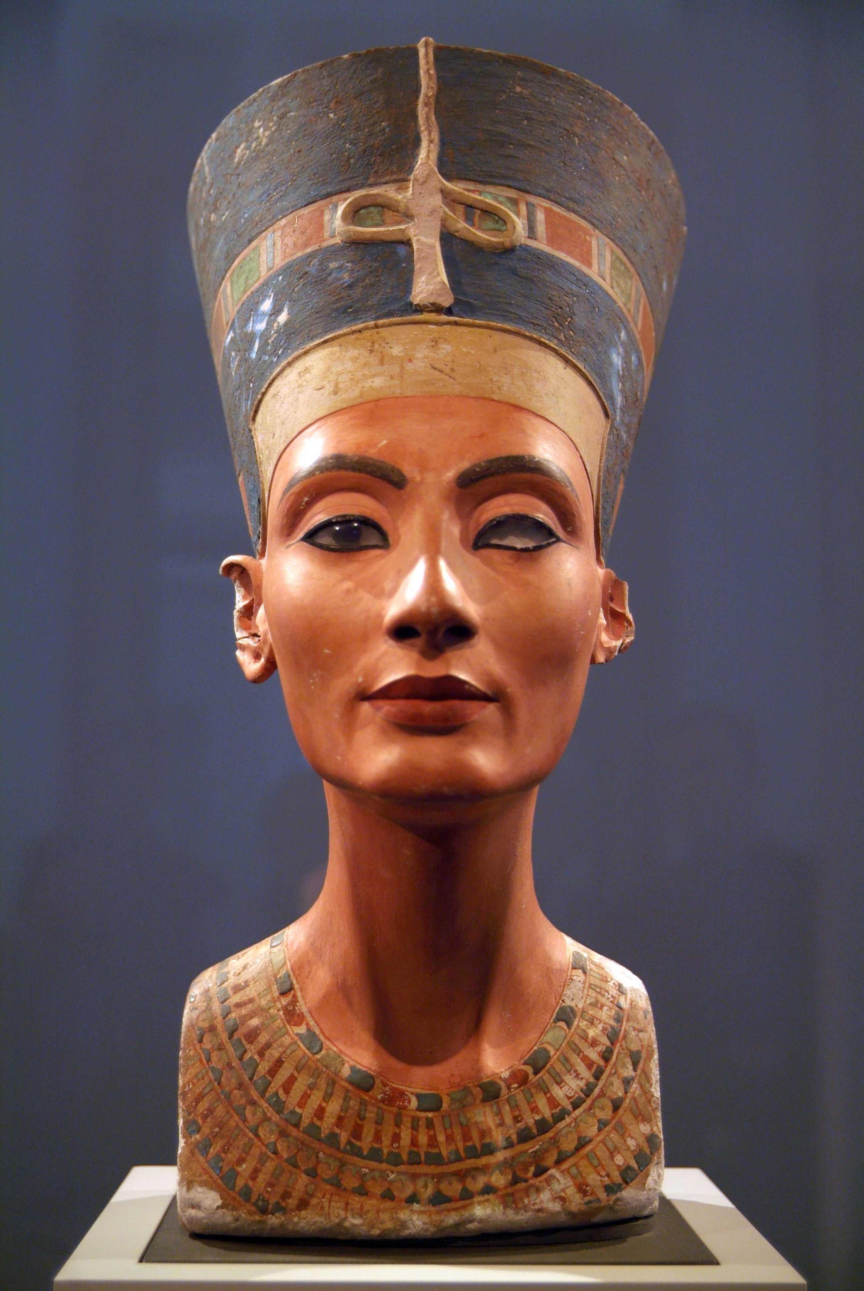 Bust of Nefertiti at the Neues Museum in Berlin, Germany. View from the front showing the missing eye. Photo taken on April 17, 2008.