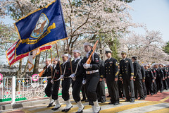 U.S. Navy Sailors participate in the Jinhae Military Parade Festival.