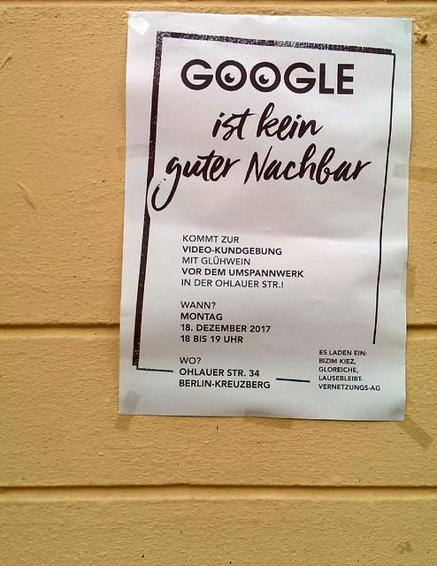 Kundgebung: Google ist kein guter Nachbar (18.12.2017)