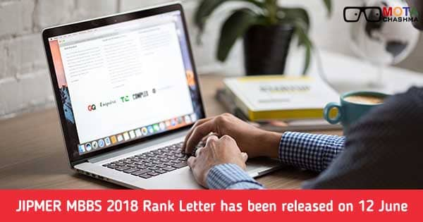 jipmer mbbs 2018 rank letter released on 12 june