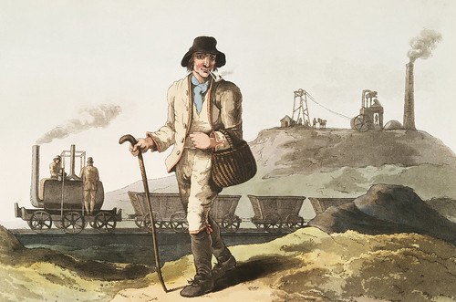 Illustration of the collier from The Costume of Yorkshire (1814) by George Walker (1781-1856). This image features also feature the first published illustration of a locomotive (steam engine) built by Murray & Blenkinsop in 1812.