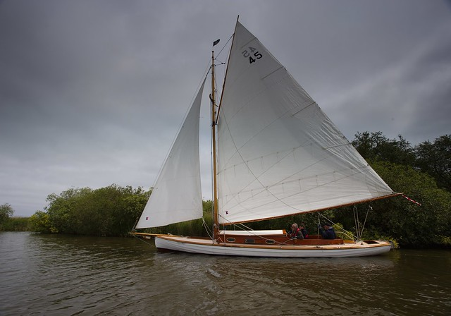 A boat sailing on the broads