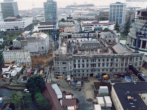 "<p>In 1992 refurbishment of the parliament buildings started. The project faced numerous hurdles, especially in 1992 with three fires disrupting progress. The project ran from August 1992 to December 1995. Archives Zealand hold photographs from the duration of the project. This picture was taken on June 29 1993.<br /> <br /> The photographs document the progress of the works at monthly intervals and consist of between 5 and 10 colour images. They were taken from different positions, and various areas of work.<br /> <br /> Archives New Zealand Reference: ABIK 25387 W5957 74 <a href=""https://www.archway.archives.govt.nz/ViewFullItem.do?code=24492021"" rel=""nofollow"">www.archway.archives.govt.nz/ViewFullItem.do?code=24492021</a> <br /> <br /> For further enquiries email research.archives@dia.govt.nz<br /> <br /> Material from Archives New Zealand Te Rua Mahara o te Kāwanatanga</p>"