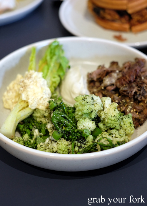 Broccolini and romanesco green cauliflower salad at A1 Canteen by Clayton Wells in Chippendale Sydney