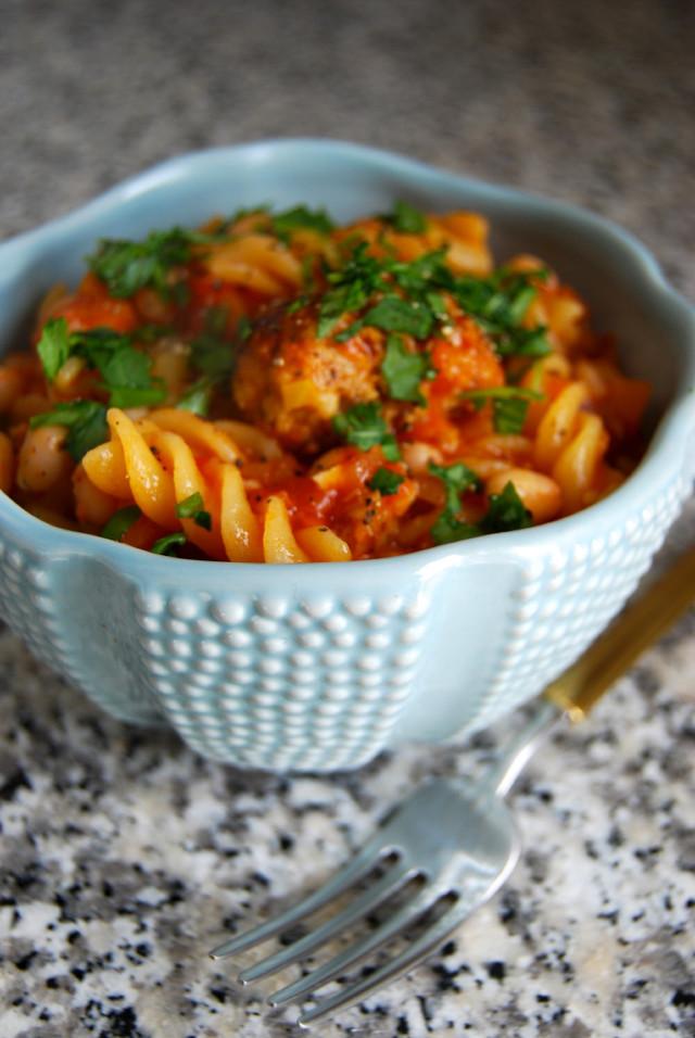 Sausage Meatball and White Bean Stew #stew #sausage #meatball #whitebean #pasta #dinner