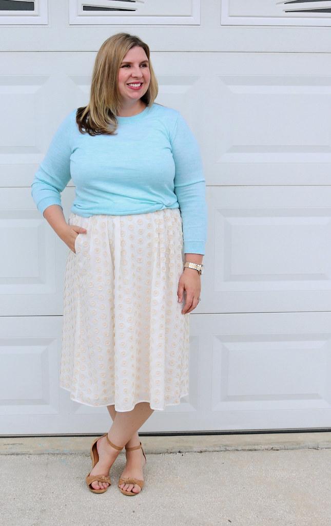cream dot midi skirt, mint tippi 4