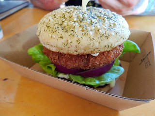 Krabby Burger from Green Street Foods at Brisbane Vegan Markets