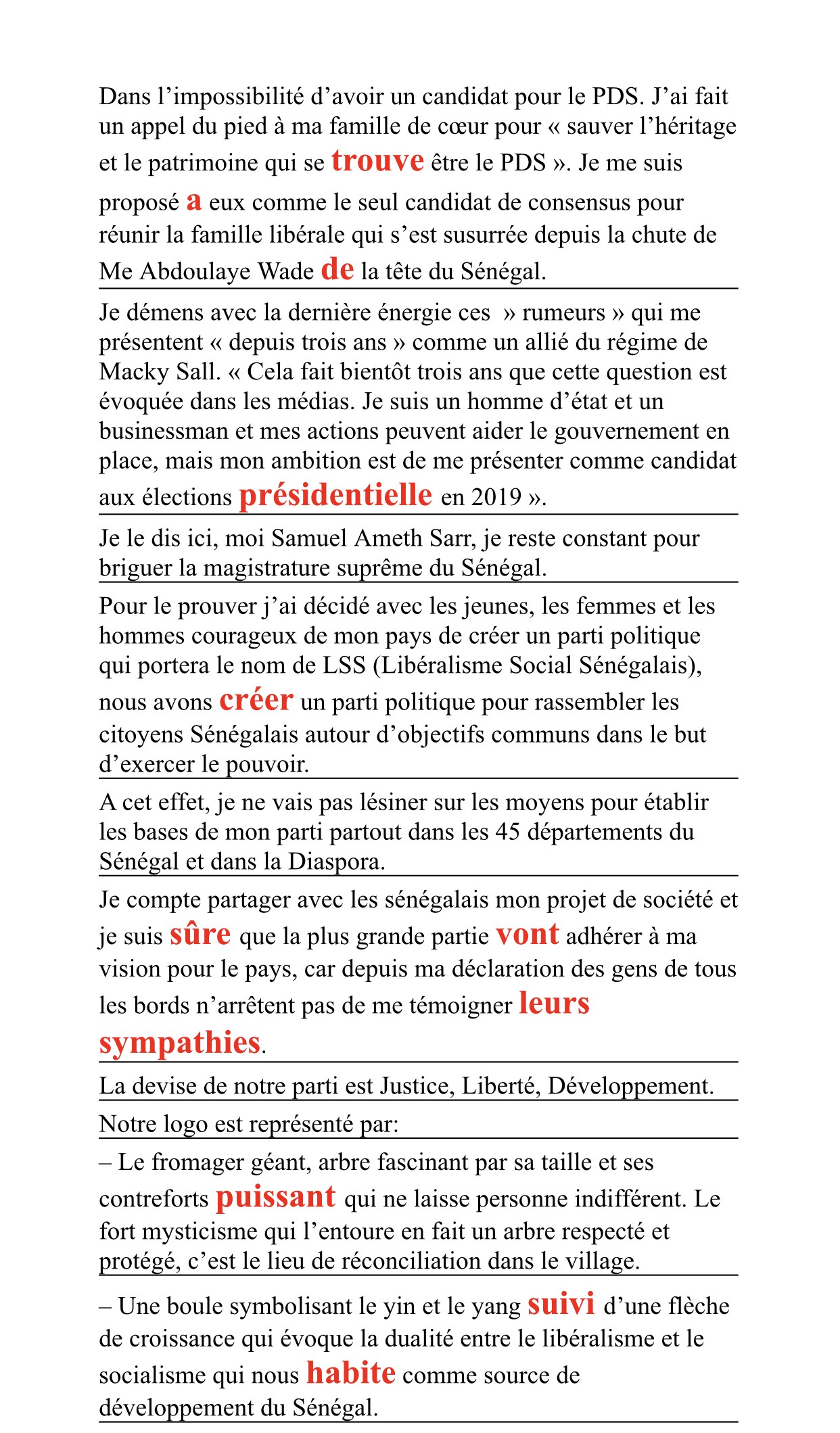 Samuel Sarr et ses quatorze fautes de français1