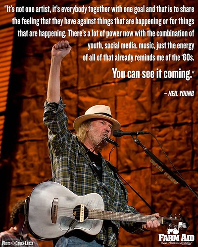 Forbes recently asked artists like Melissa Etheridge, Michael Stipe, and Carlos Santana what the greatest protest song is. Here is @neilyoung's response, which reminds us of the spirit behind Farm Aid. [This photo is from Farm Aid 25 in Milwaukee.] #Thurs