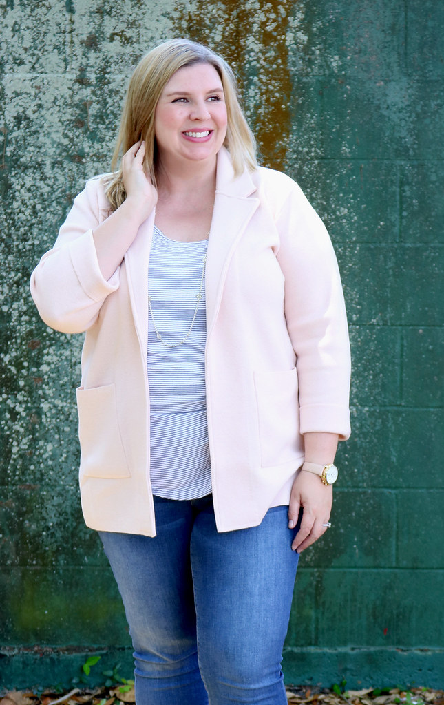 blush sweater cardigan, skinny jeans, black and white stripe luxe tank, bow flats 4