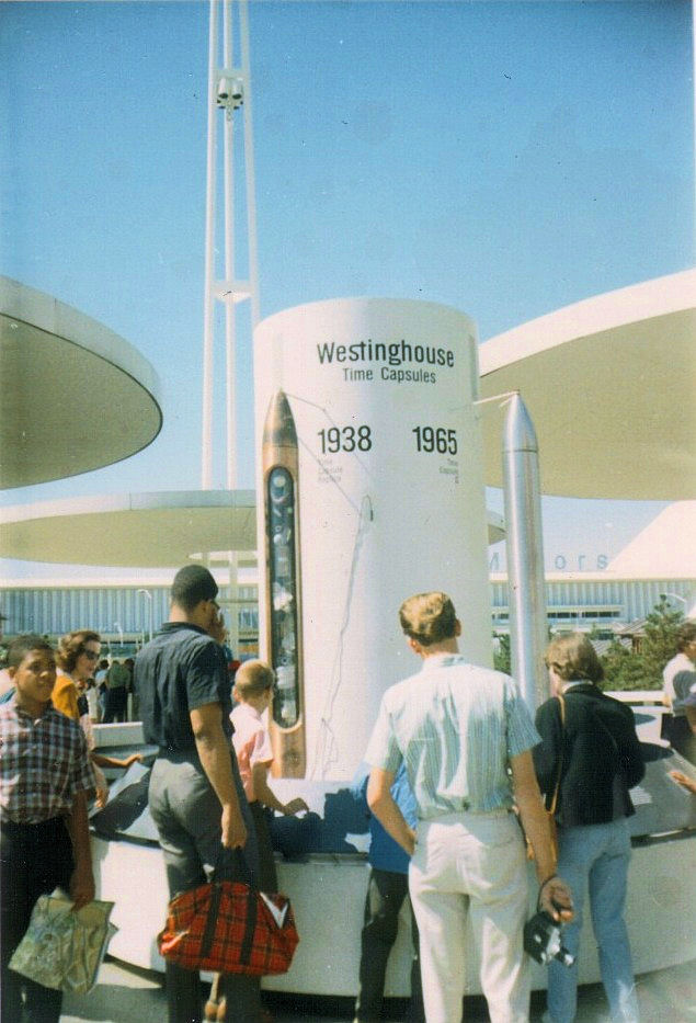 Replica of the Westinghouse time capsules, photographed in September 1965
