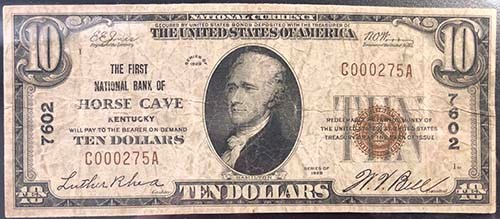 The First National Bank of Horse Cave, Kentucky $5 note