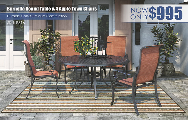Burnella Round Table & 4 Chairs_P316-601A(4)-P456-615