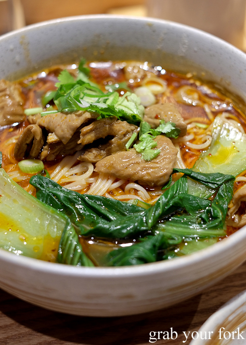 Chongqing spicy noodle with pork intestines at Mr Meng Chongqing Gourmet in Market City Chinatown Sydney