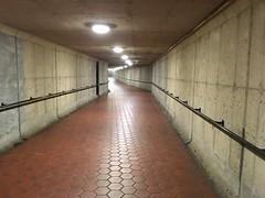 Concrete corridor, Courthouse Metro station, Arlington, Virginia