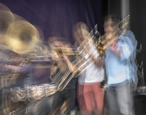 Brass band at Day 2 of French Quarter Festival - 4.13.18. Photo by Marc PoKempner.