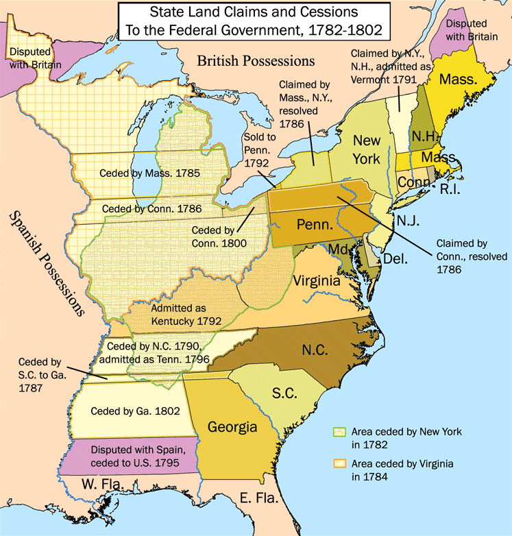 United States land claims and cessions, 1782-1802