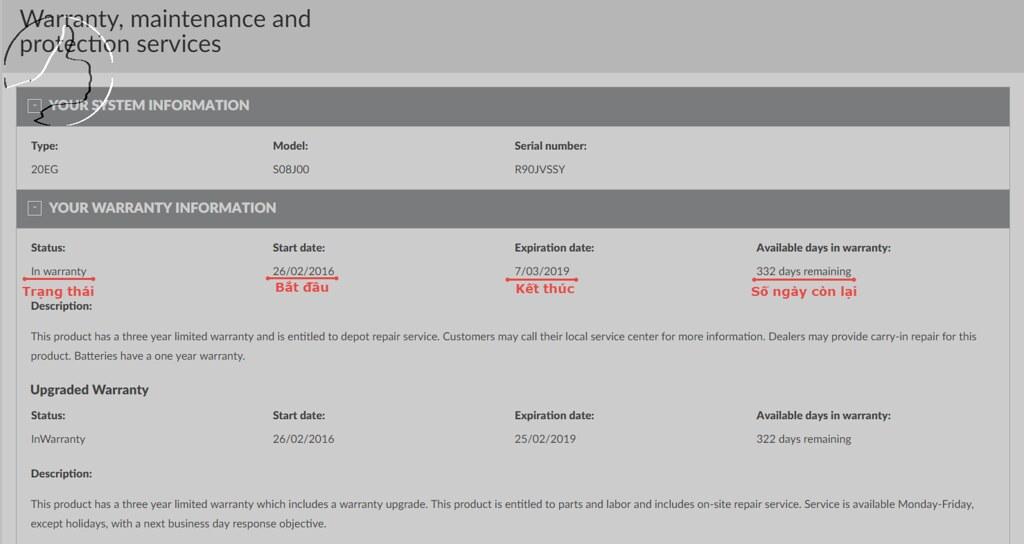 Thông tin về trạng thái bảo hành của Lenovo ThinkPad W541