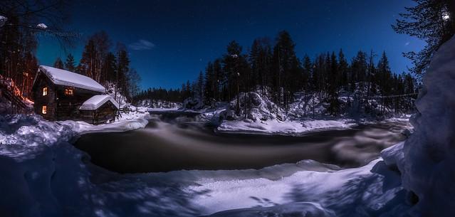 Myllykoski rapids in moonlight