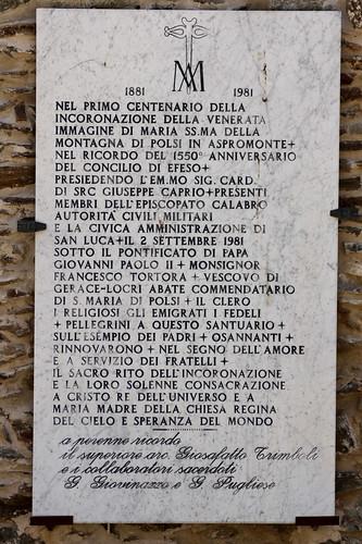 Santuario della Madonna della Montagna di Polsi - Lapide commemorativa Incoronazione 1981